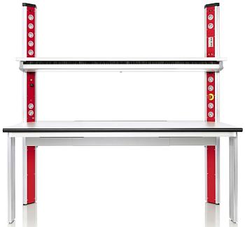 Inform Tisch mit 3HE Aufbau Rollcontainer und Zubehör